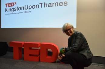 Sarah Holding at the TEDx event